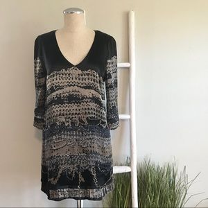 7 For All Mankind | Black Tan Abstract Silk Dress